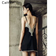 Caiyier Women Black Sexy Lace Nightgown Silk Stain Lingerie Night Dress Sleeveless Deep V-Neck Sleepshirts With T-Back цена