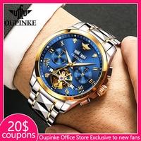 OUPINKE, reloj de lujo para hombre, cronógrafo, relojes mecánicos automáticos, reloj deportivo impermeable de acero inoxidable para hombre, reloj masculino