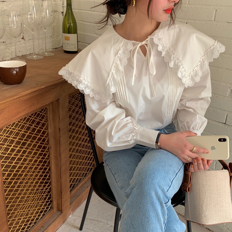 H5cc546f06fa04cffa12a5ce675e3d1ebG - Spring / Autumn Lace-Up Collar Long Sleeves Loose pleated Solid Blouse