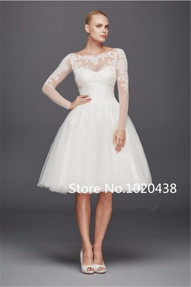 Scoop Long Sleeves Short Shimmering Lace Appliques Knee Length Sexy Vestido De Noiva Bridal Gown 2018 Bridesmaid Dresses