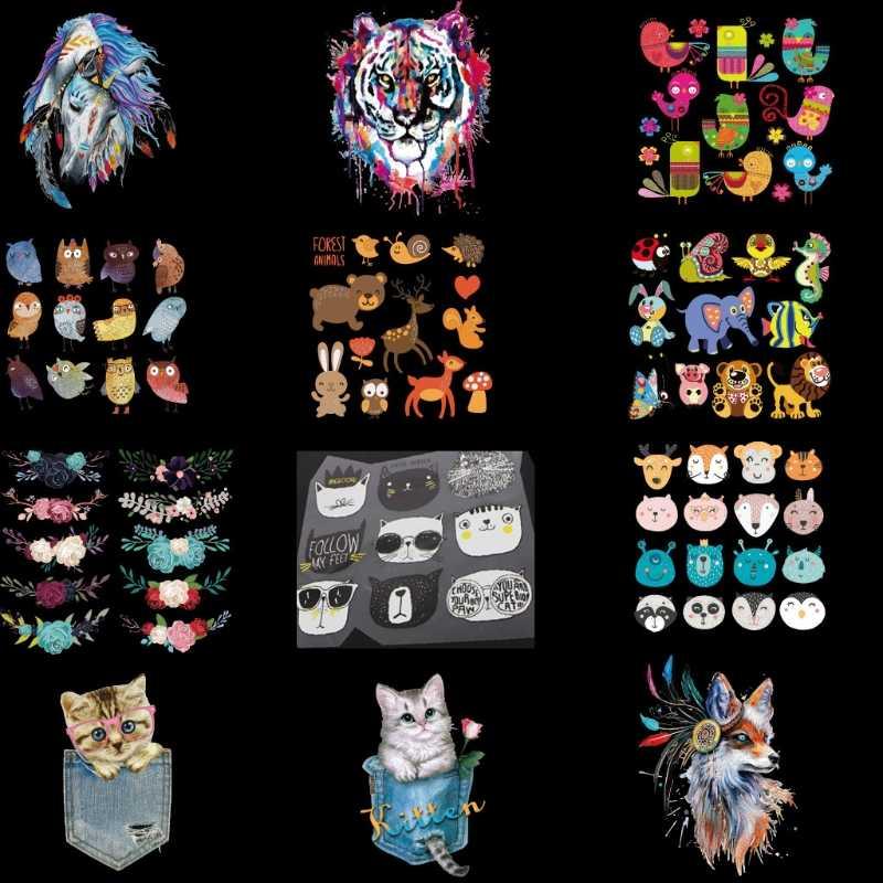 DIY aplikacje kwiat torba dla kota łatka żelazko na T-shirt sukienka naklejki przenikania ciepła