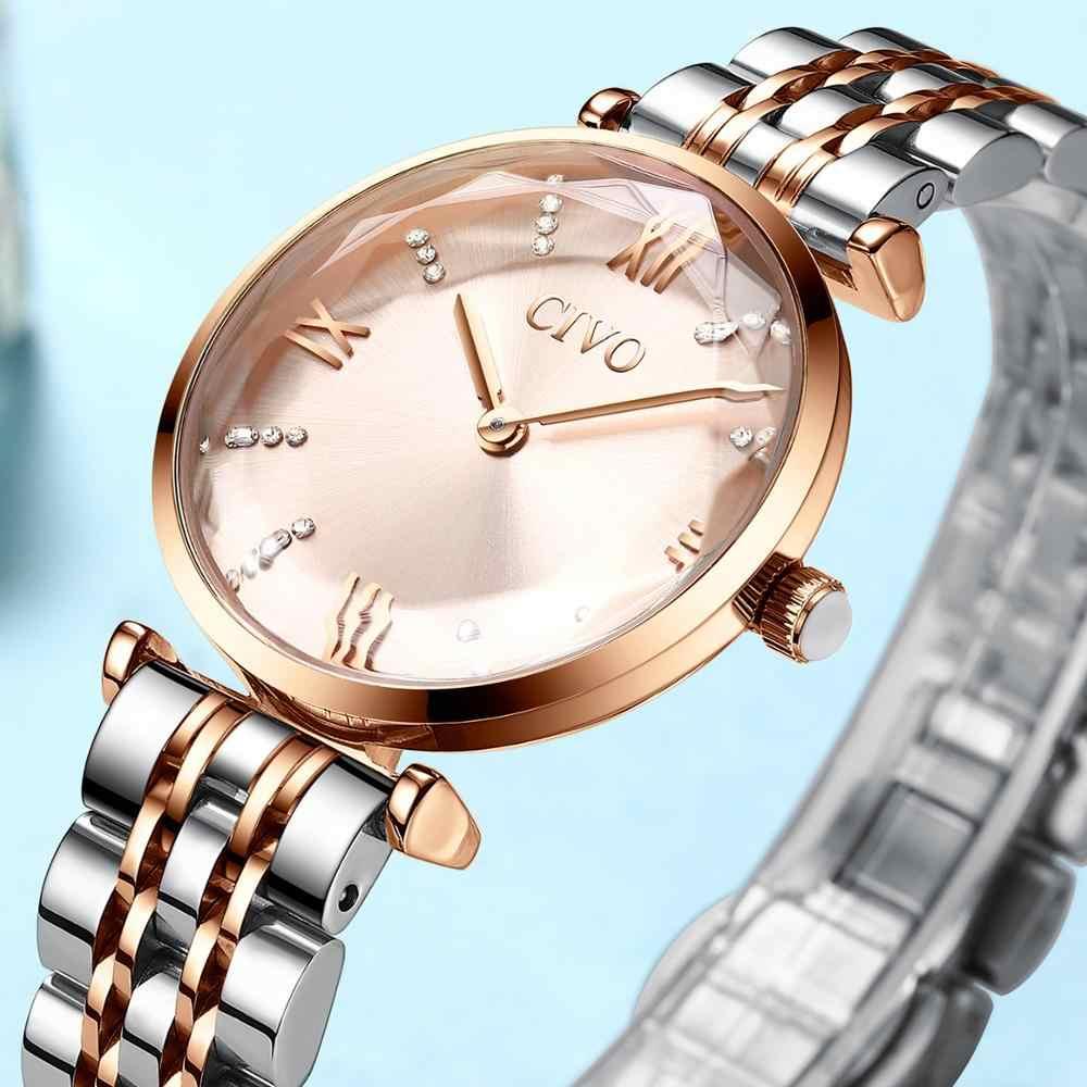 سيفو ساعة كريستال فاخرة المرأة مقاوم للماء ارتفع الذهب الصلب حزام السيدات ساعات المعصم العلامة التجارية الأعلى سوار ساعة Relogio Feminino