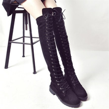 2020 New Flock Leather Women Over The Knee Boots Lace Up Sexy High Heels Autumn Woman Shoes Winter Women Boots Size 34-43 zbzfsk genuine leather women boots lace up fringe long boots shoes woman autumn winter tassel knee high boots plus size 34 43