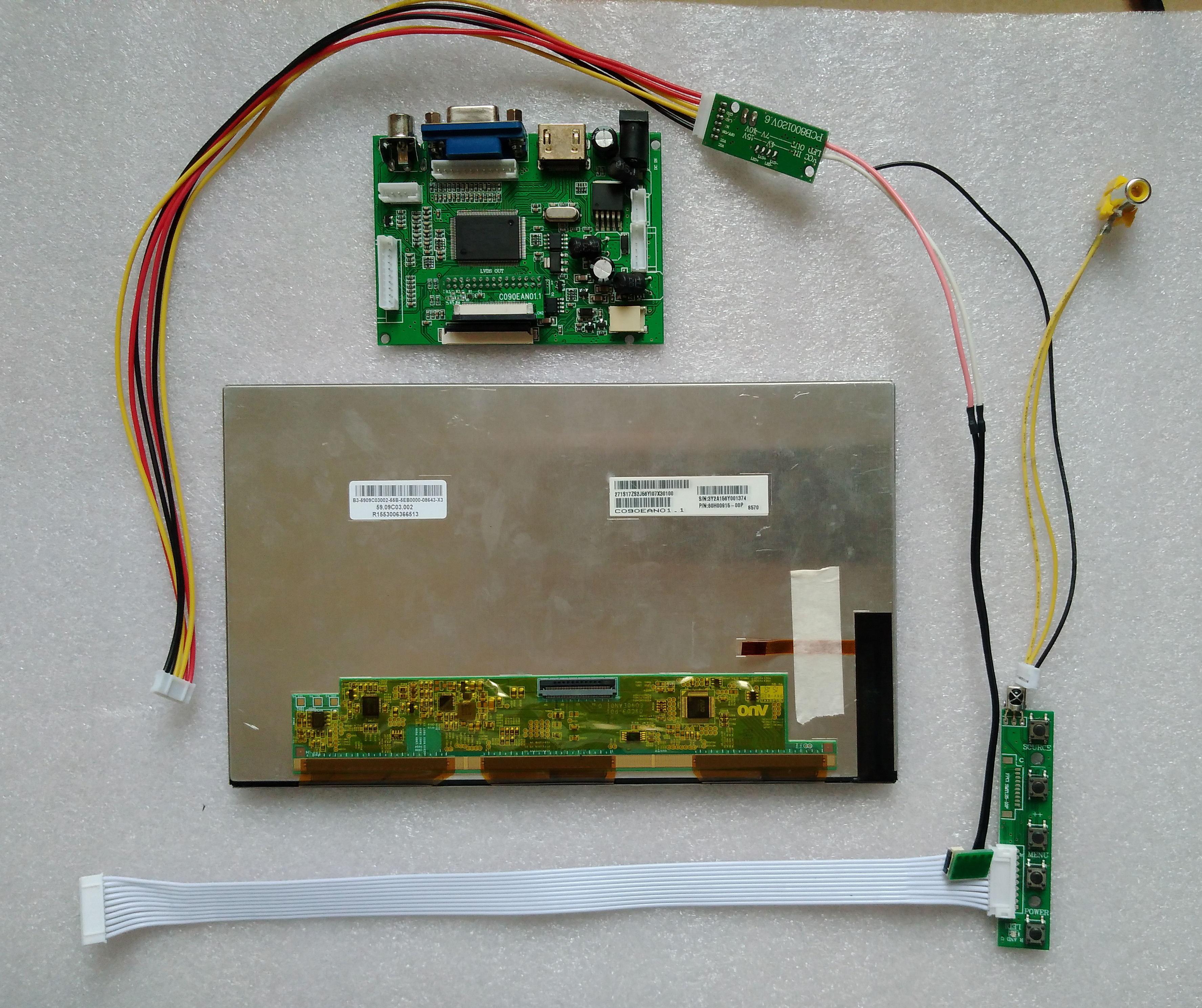 9 10.1 10.2 Inch Carpc DIY 1366*768 IPS HDMI Display 1280*720 High Brightness USB Digitizer Touch Support Raspberry Pi WIN10