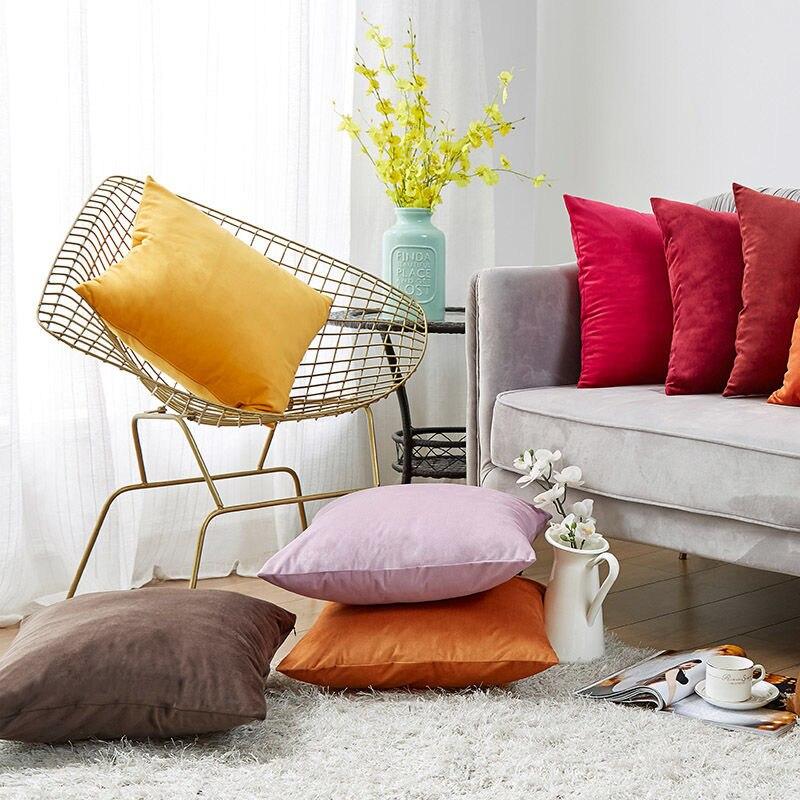 Super Soft Cushion Cover Velvet Pillow Cover For Sofa Living Room Housse De Coussin Decorative Pillows Nordic Decoration