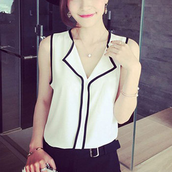 Patchwork Women Chiffon Blouse Sleeveless Office Lady Shirt Black White Fashion Ladies 2020 Summer Female Clothes