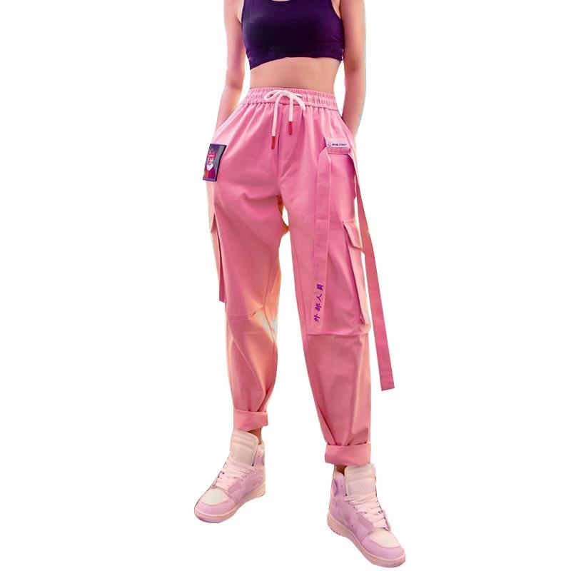 Pantalones Cargo Rosa Para Mujer Cinturon Negro Ropa De Calle Pantalones Femeninos De Retazos Otono 2020 Pantalones Deportivos De Mujer Grandes Pantalones Y Pantalones Capri Aliexpress