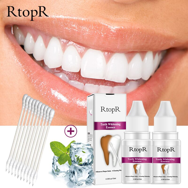 RtopR Teeth Care Removes Tooth Plaque Stains Serum Teeth  Whitening Bleaching Essence Powder Oral Hygiene Cleaning Water 2 PCS Силиконы