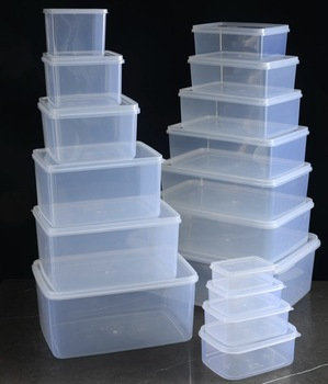 Caja receptora Rectangular transparente para refrigerador, conjunto de caja de conservación de gran capacidad, caja refrigerada para alimentos Hualong