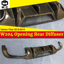 W204 Opening Rear Diffuser Lip Carbon Fiber Black For Benz C-Class C200 C230 C250 C280 C63 Bumper 2012-14