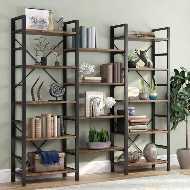 Bookshelf Triple Wide 5-Shelf Bookcase Vintage Industrial Style Shelves Wood and Metal bookcases Etagere Large Open Bookshelf 3