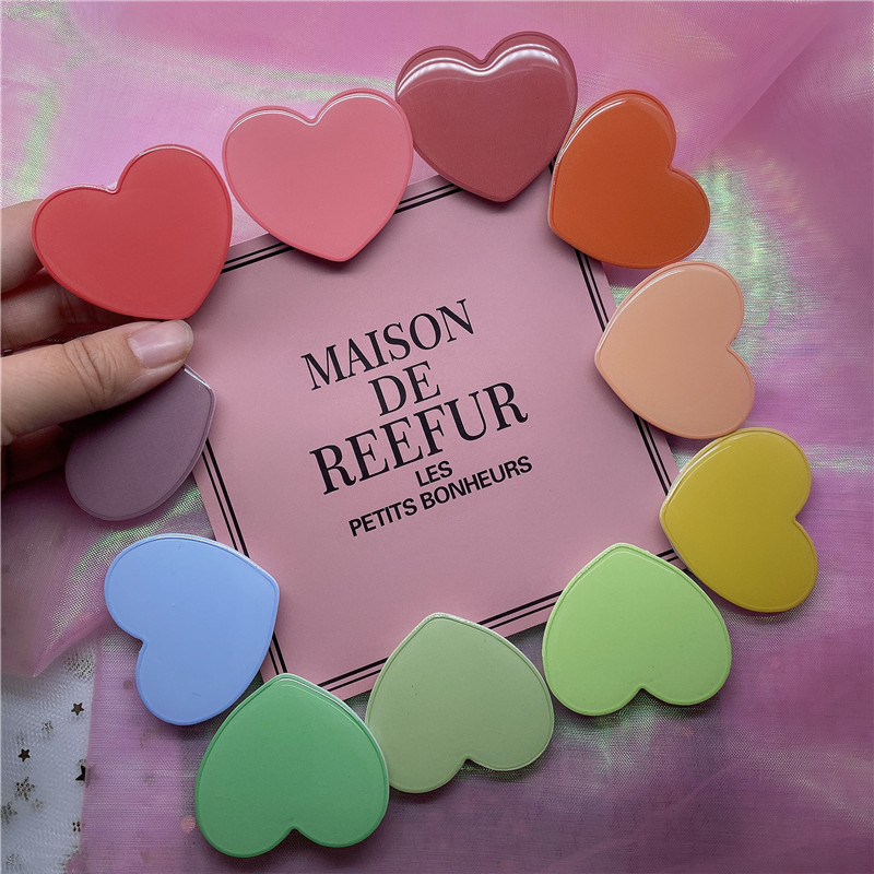 Universal Cute Simple Solid Color Macaron Heart-shaped Foldable Mobile Phone Handle Bracket Mobile Phone Air Bag Bracket