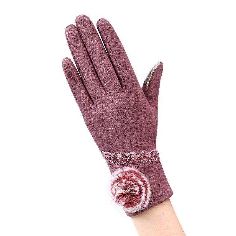 New Autumn Winter Fashion Ladies Cashmere Gloves Female Wool Mitten Gloves Flower All Match Women Beige Gloves