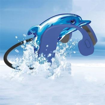 IP68 Waterproof Level MP3 Bluetooth Headset Skinny Bone Conductive MP3 Player 32GB Wireless Earphone for Swimming Sports Use