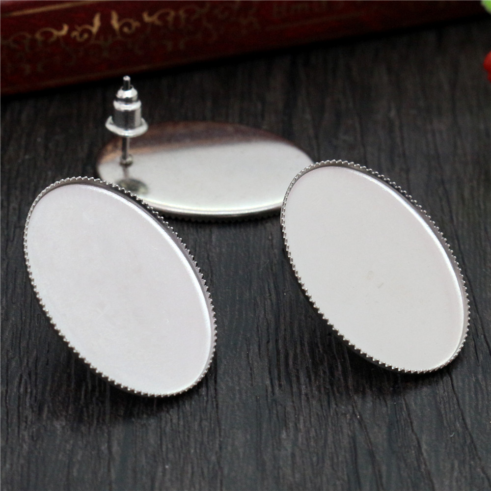 ( No Fade ) 18x25mm 20pcs/lots Stainless Steel Oval Earring Studs,Earrings Blank/Base,Fit 18x25mm Oval Glass Cabochons,-M5-10
