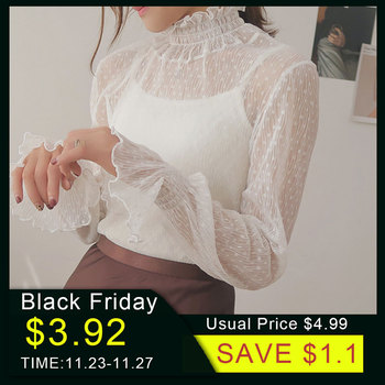 2020 New Transparent Korean Loose Women Lace Blouse 3 Colors Female Bottoming Blouses Plus Size Cheaper Tops
