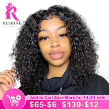 Reshine Hair Short Bob Lace Front Wigs Brazilian Kinky Curly Human Hair Wigs 150% Bob Cut Curly Wig With Baby Hair Pre Plucked