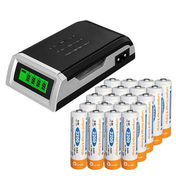 analong 20pcs aa battery rechargeable 1.2v nimh 2200mah 2a battery with LCD charger for aa aaa 1.2v battery