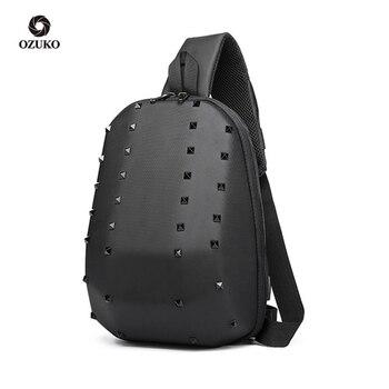 """2020 Fashion Rivet Chest Bag Men 9.7"""" iPad Shoulder Bag Male Waterproof Short Trip Sling Bags USB Messenger Bag for Teenage"""