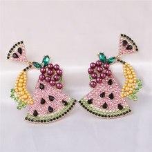 JUJIA – grandes boucles d'oreilles coréennes colorées pour femmes, bijoux en cristal pastèque, goutte d'eau, cadeaux, vente en gros