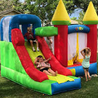 Inflatable Games Castle Bouncy Castle Kids Inflatable Bounce House with Slide PVC Oxford 3.5x3x2.7M Christmas Gift Door To Door