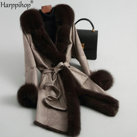 Fur leather rabbit fur coat coat female fox fur collar Slim long sleeved fur coat female