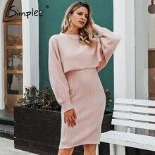 Simplee Elegante 2 stück frauen gestrickte kleid Solide bodycon pullover kleid Herbst winter damen pullover arbeit tragen pullover anzug