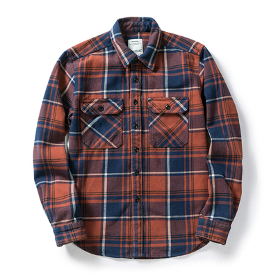 100% cotton heavy weight retro vintage classic red black spring autumn winter long sleeve plaid shirt for men women 9