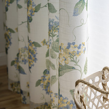 Modern Blue American Curtains for Living Room Bedroom Country Hydrangea Fresh Cotton and Linen Balcony Study Curtain modern simple cotton linen stereo embroidery curtain dolly curtain screen american country curtains for living room and bedroom
