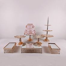3pcs-7pcs Fruit Plate  Gold Tray Fruit Stand Holder Table Home Cake Jewelry Storage Tray With Handle