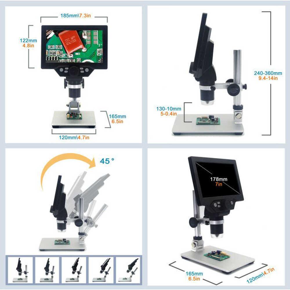 G600/G1200 7 pouces numérique LCD 12MP 1200X Zoom continu Microscope Amplification loupe avec grande Base de support en alliage d'aluminium