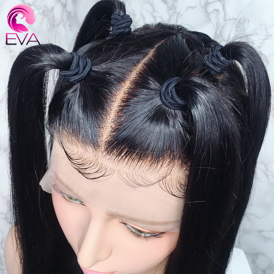 Eva Hair Full Lace Human Hair Wigs Pre Plucked With Baby Hair Brazilian Straight Remy Glueless Hair Wig For Black Women