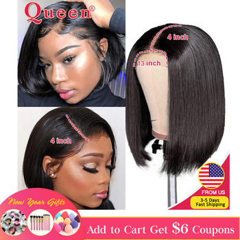 Blunt Cut Bob Wig Brazilian Lace Front Human Hair Wigs Straight Bob Wig For Black Women Remy Lace Closure Wig With Baby Hair