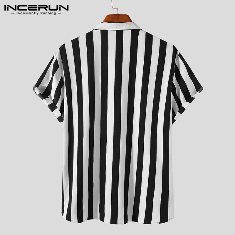 INCERUN Man Stylish Button Blouse Summer Casual Tops Masculina Fashion Striped Men Shirts Short Sleeve Stand Collar Shirt 5XL 7 4