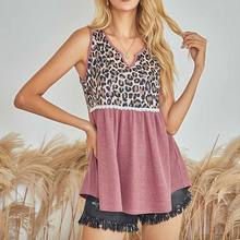 2021 New European And American Sling Women's Fashion Sexy Leopard Pattern Splicing Vest British Style Student Girl Clothes