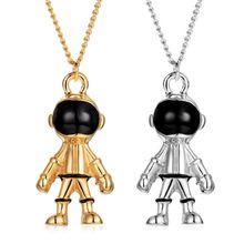 2Pcs Streetwear Punk Gold Silver Morden Robot Pendant Necklace Fashion Jewelry