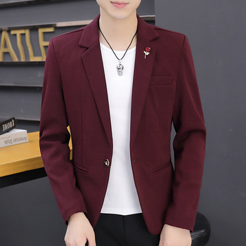 Fall 2020 new men pure color suits teenagers cultivate one's morality thin suit