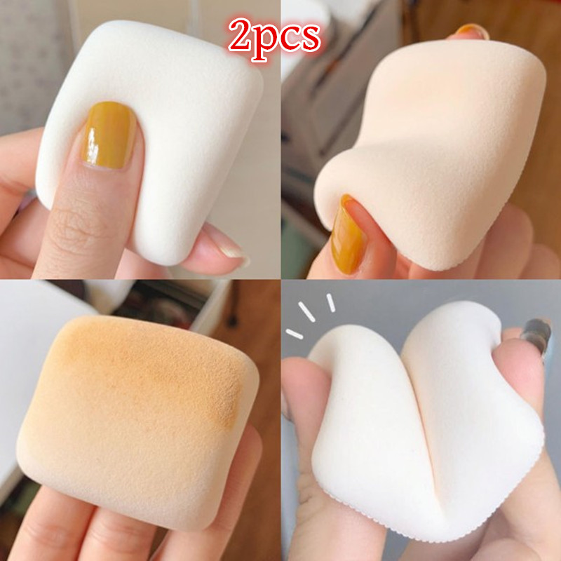 2pcs Makeup Sponge Concealer Super Soft Cosmetic Powder Puff Air Cushion Foundation Bevel   Make Up Blender Wet And Dry Dual Use 1