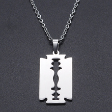 Razor Blade Stainless Steel Charm Necklace for Women Dainty Steel Necklaces Dropshipping Wholesale Fashion Jewelry Necklaces