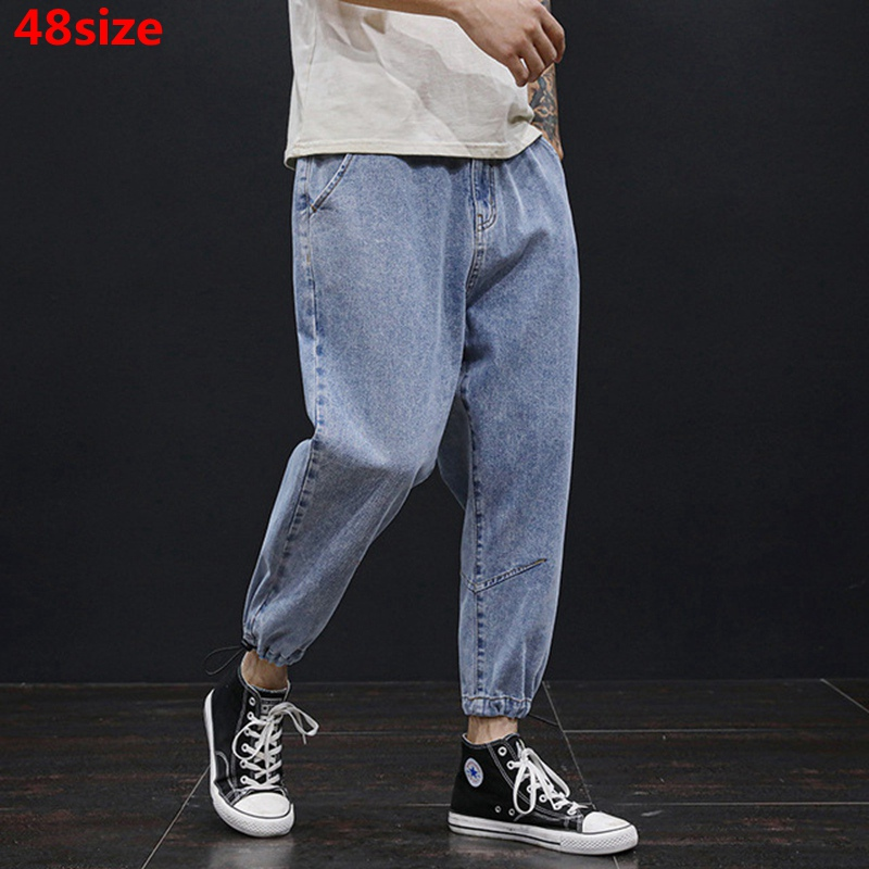 Tide Brand Large Size Men's Spring Summer New Youth Jeans Loose Plus Size Fashion Pants Ankle-length Streetwear 48 46 44 42