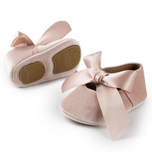 Bebê menina princesa sapatos da criança antiderrapante plana macio-sola de algodão de borracha berço adorável borboleta-nó infantil primeiros caminhantes 0-18m