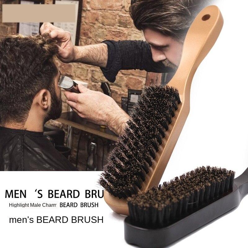 100% Boar Solid Wood Shaving Brush Beard Massage Black Boar Bristle Hair Brush Curved Wooden Men Beard Mustache Brushes G0118