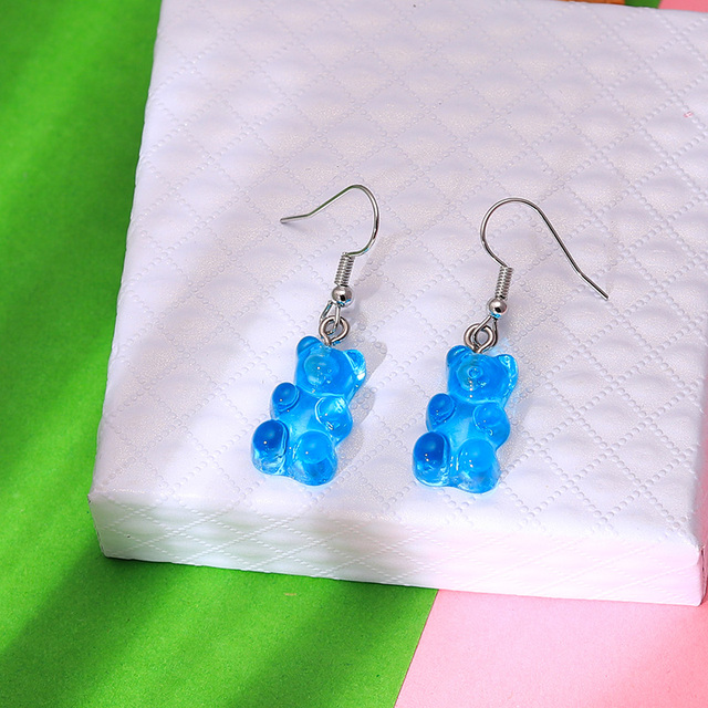 1 Pair Creative Cute Mini Gummy Bear Earrings Minimalism Cartoon Design Female Ear Hooks Danglers Jewelry Gift 2