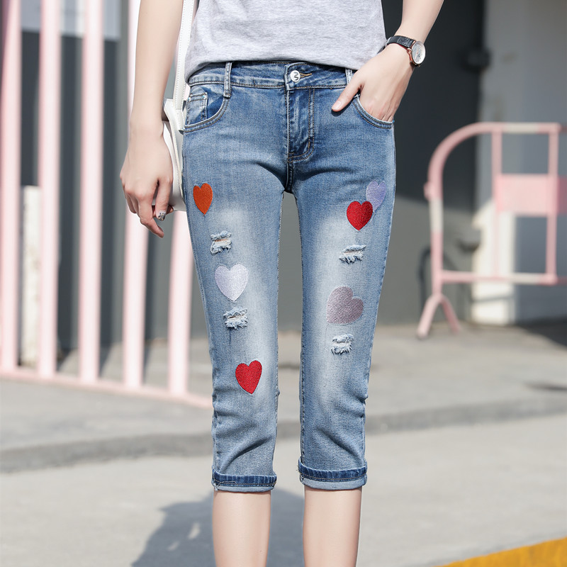 Heart Embroidered Capri Jeans Women Summer Plus Size Ripped Shorts Jeans Ladies Casual Slim Fit Skinny Jeans Push Up Denim Pants