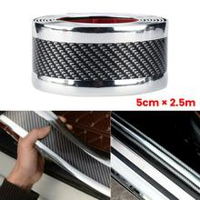 цена на 5*250CM Car Bumper Protector Strip Carbon Fiber Door Sill Protector Edge Protect Trunk Door Sill Anti-scratch Car Sticker