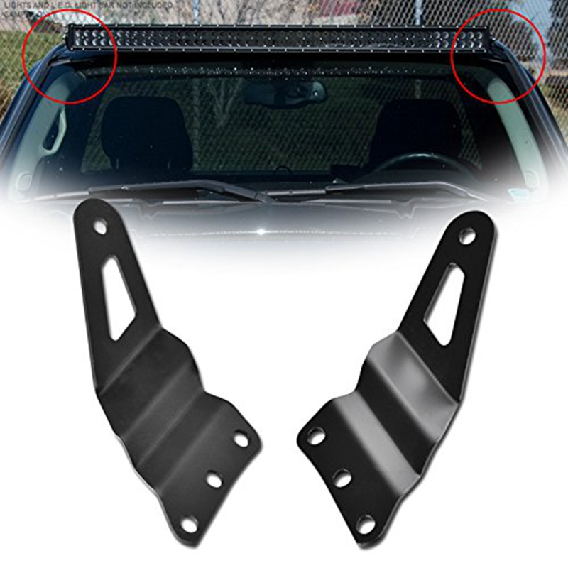 Roof Upper Windshield A-Pillar Mount Rack Brackets Kit For 54 Inch Curved Light Bar For 99-07 Chevy Silverado, GMC Sierra 1500/2