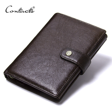 CONTACTS Top Quality Genuine Cow Leather Wallet Men Hasp Design Short Purse With Passport Photo Holder For Male Clutch Wallets
