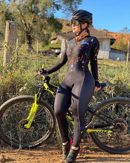 Xama mulheres manga longa skinsuit equipe profissional bicicleta roupas de ciclismo outono calças collants ropa ciclismo mujer speedsuit wear 1