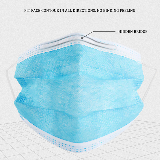 10/50pcs Face Mask Flu 3Ply Nonwoven Active Carbon Hygiene Disposable Mouth Mask Pollution Fog Haze Dustproof Health Care Mask 5