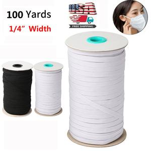 100 Yards Length DIY Braided Elastic Band Cord Knit Band Sewing 1/4 inch 3-7 Days delivery USA DIY Masks bands(China)